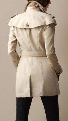 Burberry Short Cape Detail Trench Coat