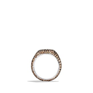 David Yurman Petite Pavé; Pinky Ring with Cognac Diamonds in Gold