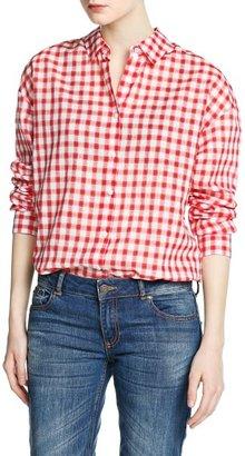 MANGO Outlet Gingham Check Cotton Shirt