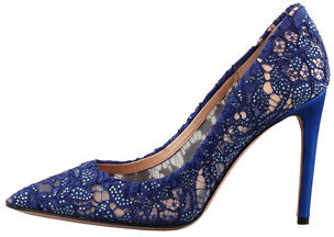 Valentino Crystal-Embellished Lace Pointy Pump, Blue