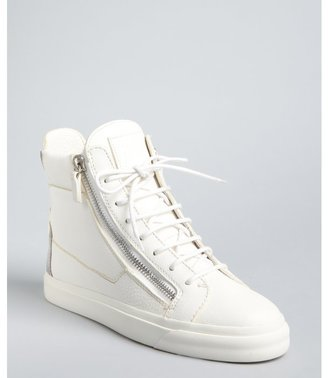 Giuseppe Zanotti white leather lace up zip detail high top sneakers