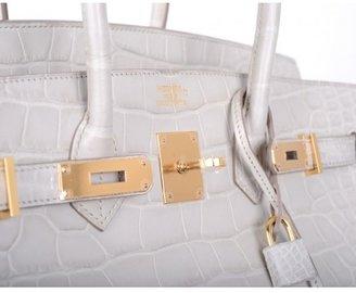 Hermes pristine (PR Beton Matte Crocodile 35cm Birkin Bag with Gold Hardware