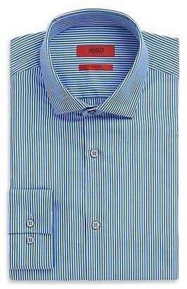 HUGO BOSS EastonX Slim Fit, Modified Spread Collar Cotton Stripe Dress Shirt - Dark Blue