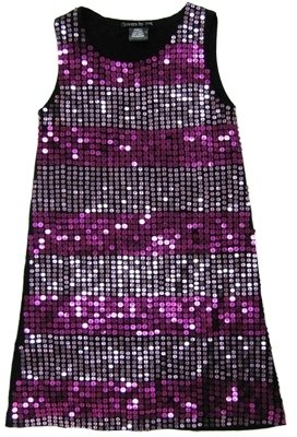 Kitson **SALE**Flowers By Zoe - Kid's Black Striped Sequin Tank Dress