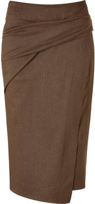 Donna Karan Caramel Draped Sarong Skirt