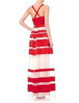 Temperley London Red Satin Freya Ribbon Dress
