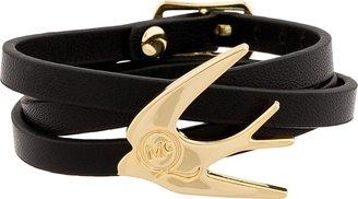 McQ Black Leather Swallow Wrap Bracelet
