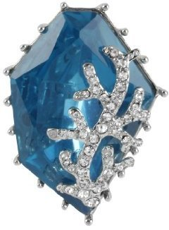 "Betsey Johnson Iconic Blue Sea"" Gem Stretch Ring, Size 7.5"