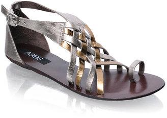 Asos Leather Toe Loop Metallic Flat Sandals