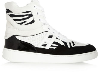 Hogan Katie Grand Loves Leather, suede and printed canvas wedge high-top sneakers