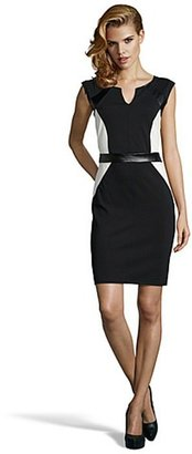 Romeo & Juliet Couture black and ivory stretch knit and faux leather cap sleeve dress