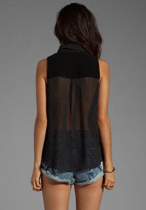 MinkPink Indifference Sleeveless Shirt in Black/White