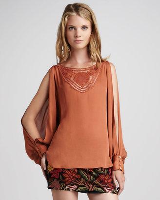 Haute Hippie Slit-Sleeve Silk Blouse