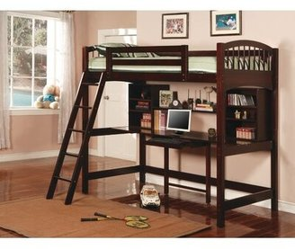 Wildon Home Dorena Twin Loft Bed with Bookcase and Shelves Color: Cappuccino