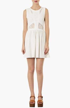 Topshop Lace Illusion Bodice Skater Dress