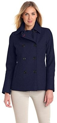 Tommy Hilfiger Women's Classic Double-Breasted Wool-Blend Peacoat