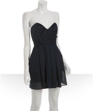 Foley + Corinna navy cotton pleated strapless dress