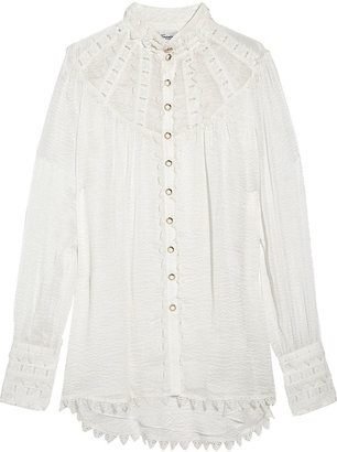 Temperley London Valencia silk-cloqué and lace blouse