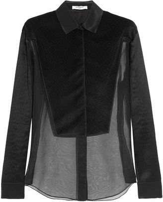 Givenchy Black Organza Shirt With Plastron