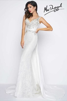 Mac Duggal Black White Red - 65664 V Neck Gown In Ivory