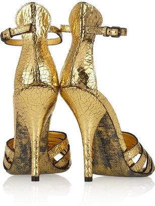 Bottega Veneta Metallic cracked-leather sandals
