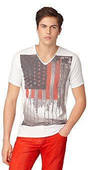 "Calvin Klein Jeans Men's White ""Americana"" V-Neck Graphic Tee"