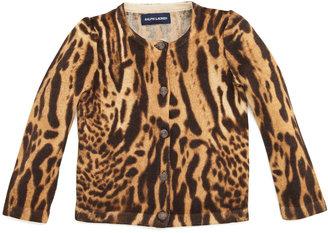 Ralph Lauren Ocelot-Print Cardigan Sweater, 2T-3T