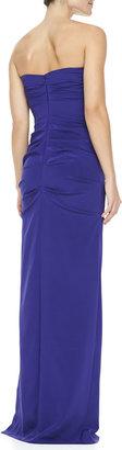 Nicole Miller Ruched Strapless Stretch-Silk Gown