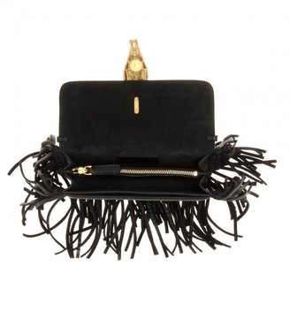 Valentino Gryphon fringed leather clutch