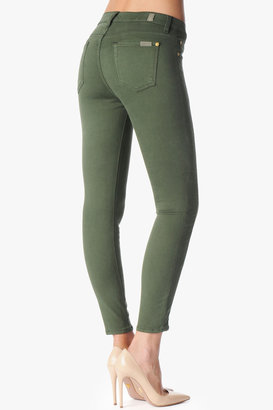"""7 For All Mankind The Slim Illusion Cropped Skinny With Double Leg Zips In Fatigue Green (26"""" Inseam)"""