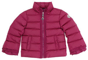 Moncler Quilted Jacket with Grosgrain Trim, Raspberry, Sizes 2-6