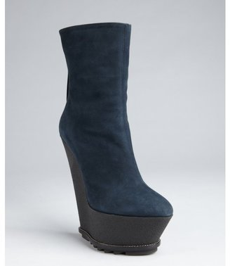 Giuseppe Zanotti navy and black suede platform wedge mid-boots