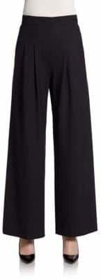 Lafayette 148 New York Stretch Wool Pleated Wide-Leg Pants