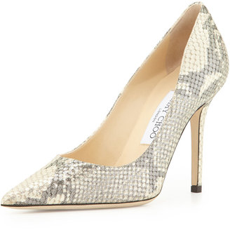 Jimmy Choo Abel Metallic Snake-Print Leather Point-Toe Pump, Neutral