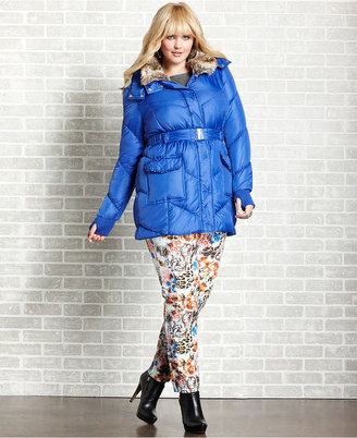 Baby Phat Plus Size Coat, Faux Fur Hood Belted Puffer