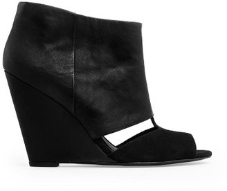 MANGO Peep-Toe Wedge Ankle Boot