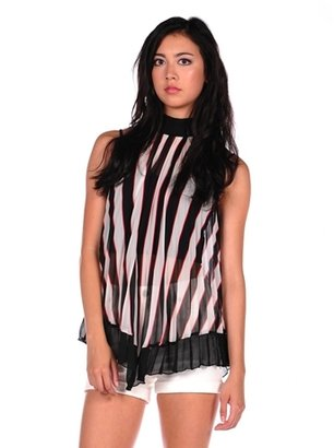 Romeo & Juliet Couture Sheer Pleated Halter Tank