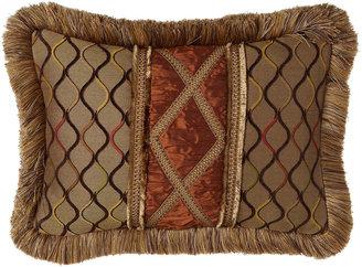 "Dian Austin Couture Home Lattice Pillow w/ Hand-Appliqued Silk Center & Brush Fringe, 14"" x 20"""