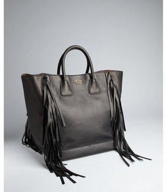 Prada black leather tassel fringe large tote
