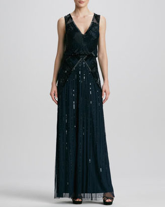 Aidan Mattox V-Neck Sequined/Beaded Gown