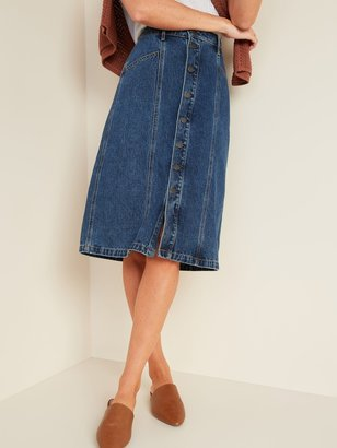 Old Navy High-Waisted Button-Front Midi Jean Skirt for Women