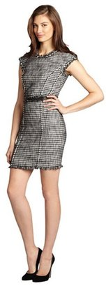 Rebecca Taylor black and white tweed lambskin trimmed cap sleeve dress