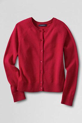 Lands' End School Uniform Little Girls' Fine Gauge Cotton Cardigan Sweater