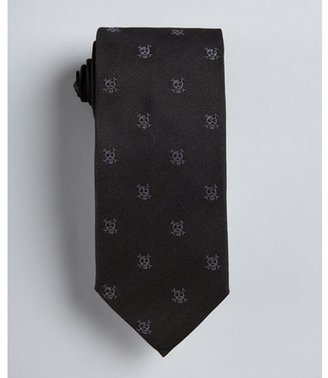 Prada black skull and crossbone print silk tie