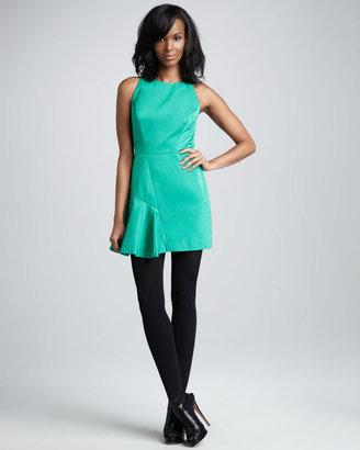 Milly Saxon Satin-Panel Dress, Clover