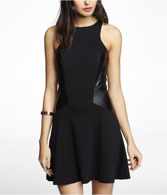 Express (Minus The) Leather Pieced A Line Dress