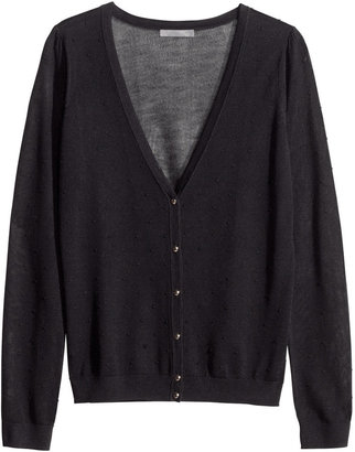 H&M Fine-knit Cardigan - Black - Ladies