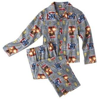 Iron Man Boys' Button Down Shirt Pajama Set - Gray