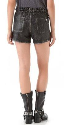 April May April, may Vic Leather Shorts with Embroidery