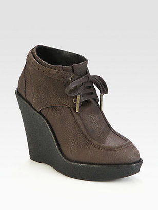 Burberry Blandford Leather Wedge Ankle Boots
